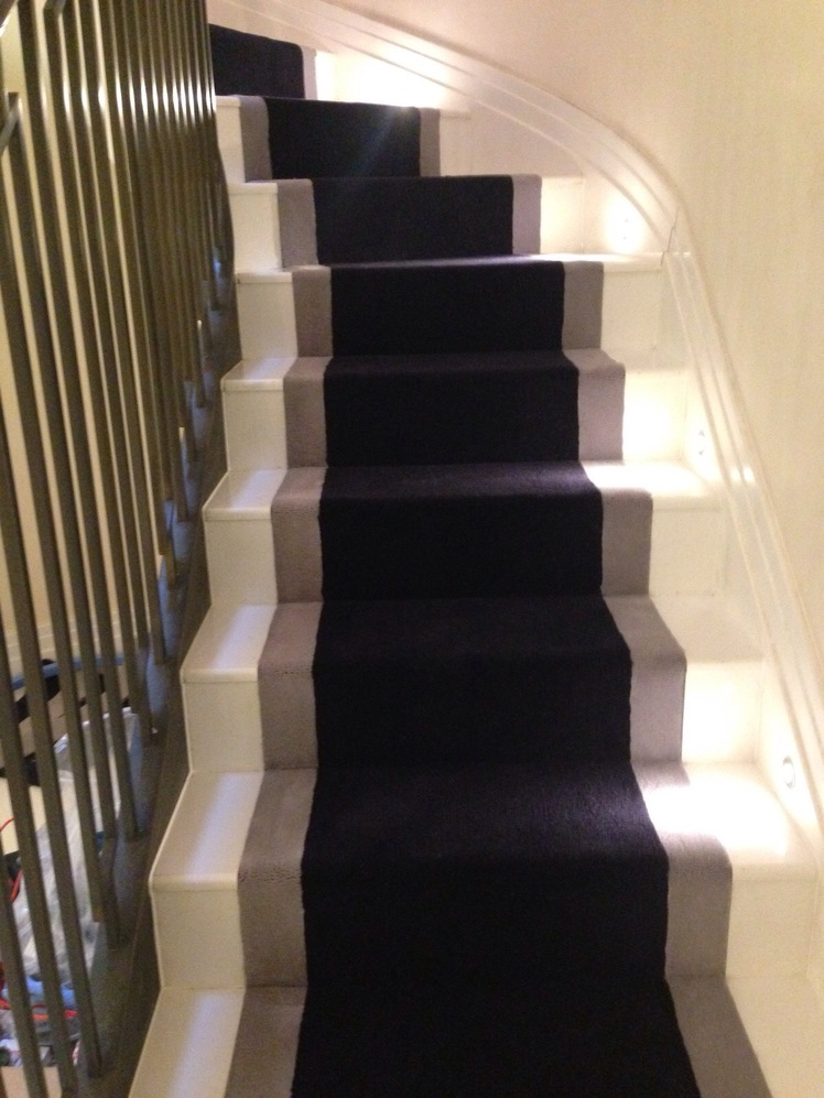 stair, runner, border, velvet, grey, carpet